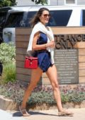 Alessandra Ambrosio stuns in a blue romper while celebrating 4th of July with friends at SoHo House in Malibu, California