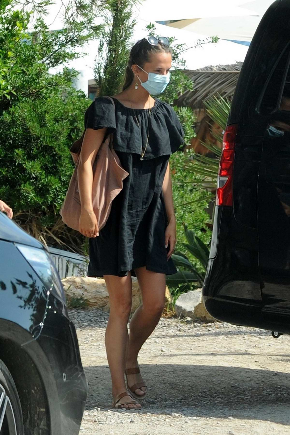 Alicia Vikander and Michael Fassbender are seen leaving the Seafood restaurant Es Xarcu in Ibiza, Spain