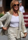 Amanda Holden leaves Heart Radio in shorts co-ord and ankle boots in London, UK