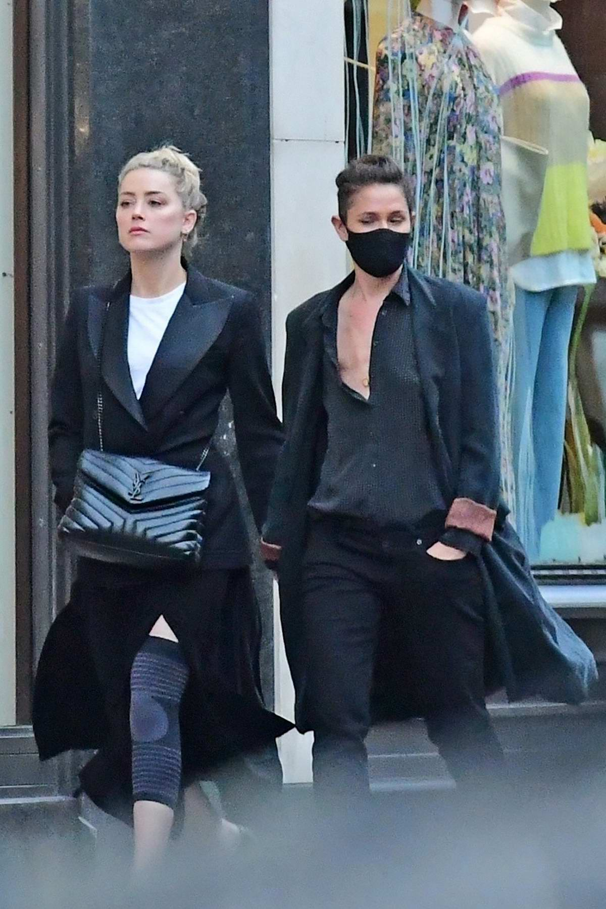 Amber Heard and girlfriend Bianca Butti step out for a stroll through Central London, UK