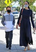 Angelina Jolie steps out with her son Knox at Wacko and Blue Rooster art supplies in Los Angeles