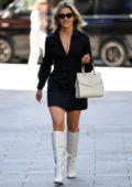 Ashley Roberts looks chic in a black mini dress as she leaves Heart Radio Studios in London, UK