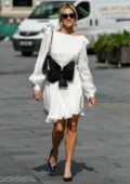 Ashley Roberts looks stylish in a white dress as she leaves Global Radio Studios in London, UK