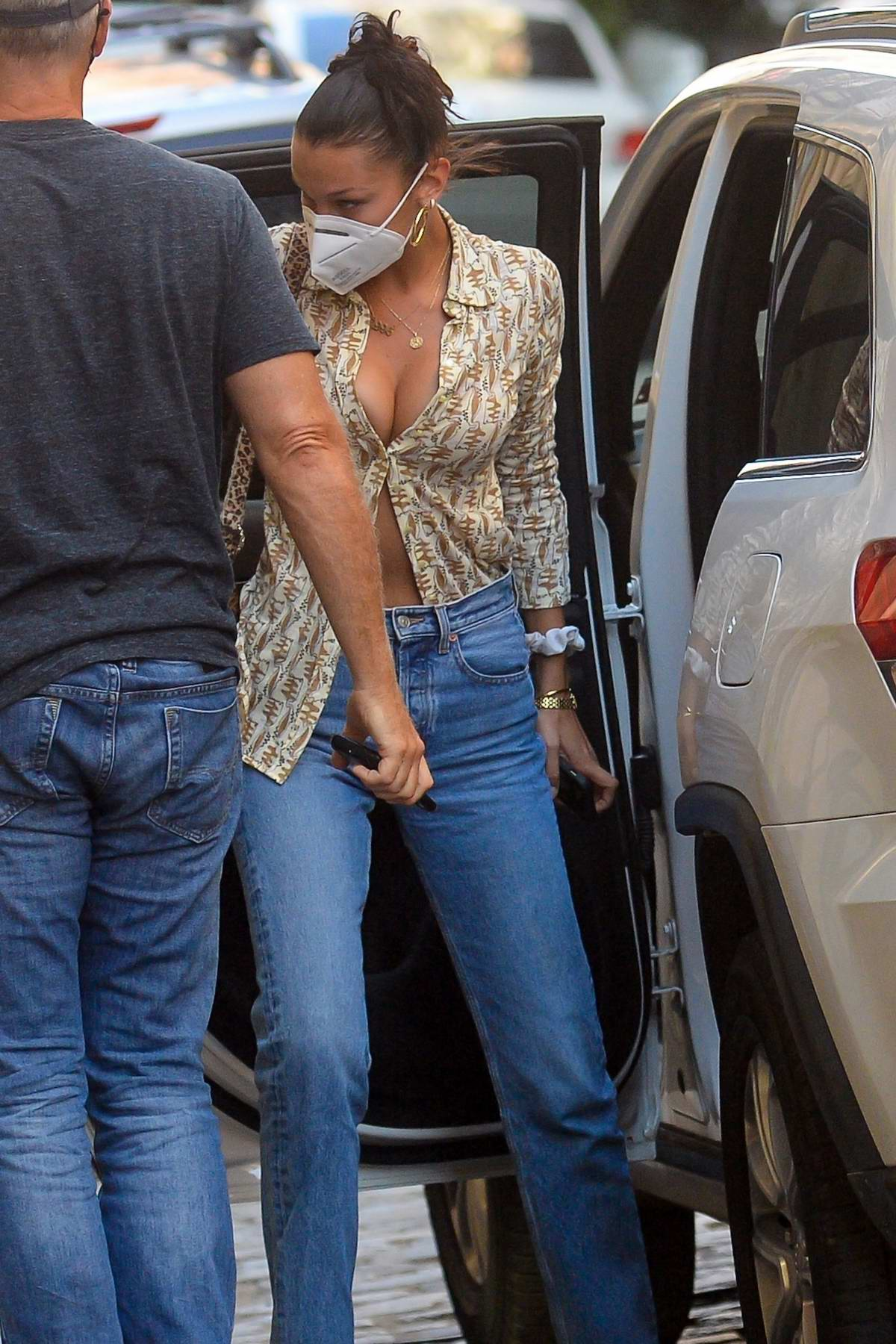 Bella Hadid looks stylish in a retro-style shirt and jeans while out in downtown Manhattan, New York