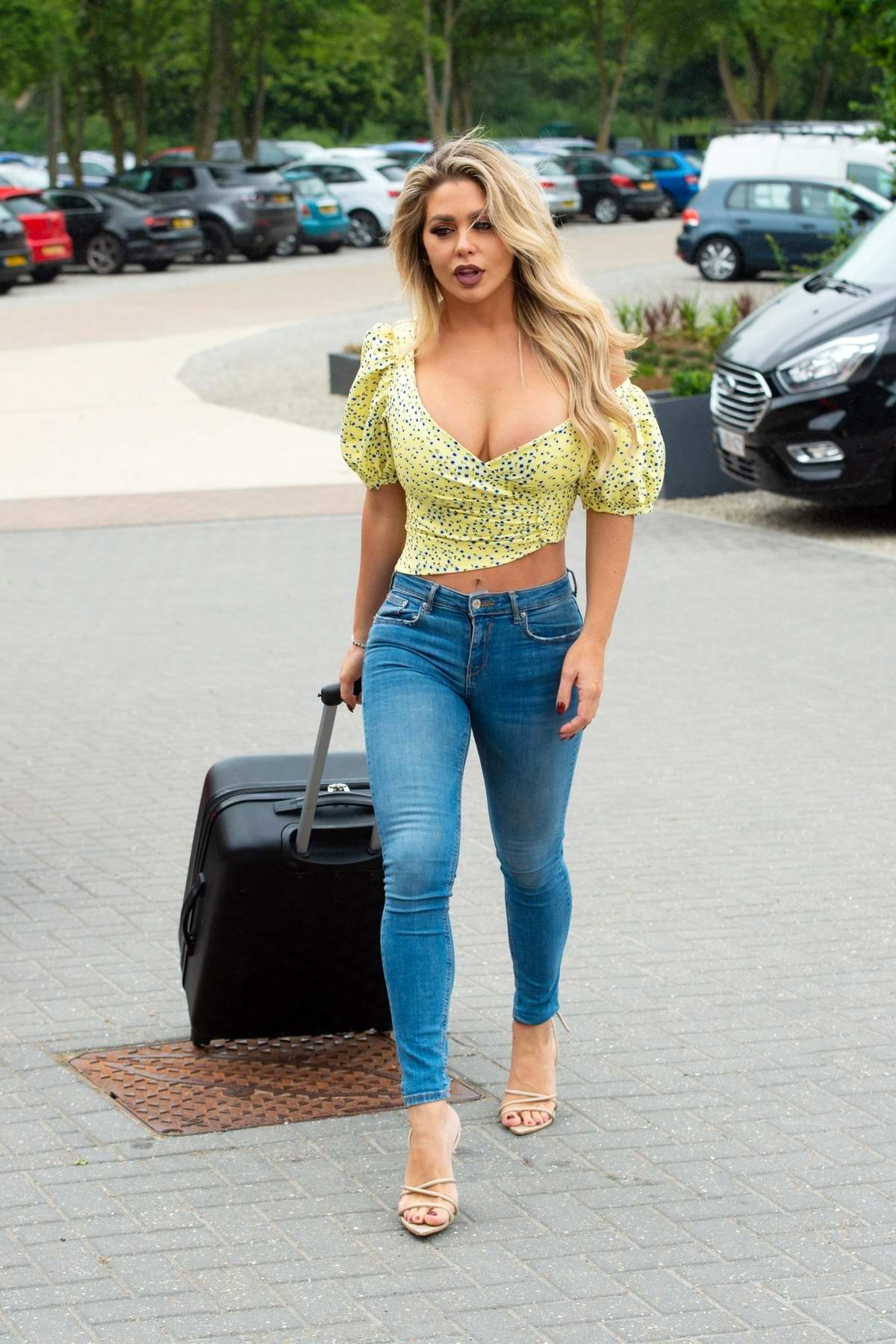 Bianca Gascoigne and Kris Boyson seen arriving at The Cave hotel in Faversham, Kent, UK