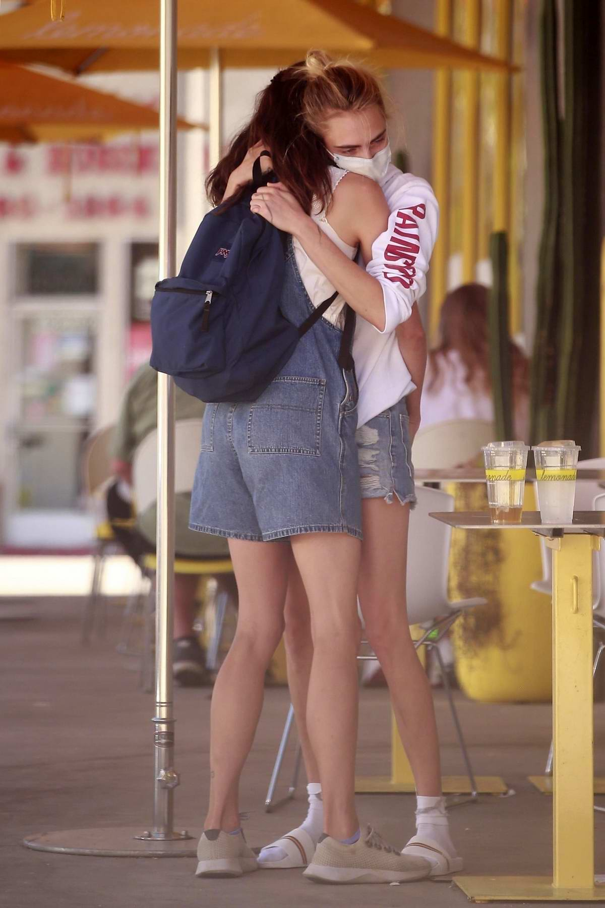 Cara Delevingne and Margaret Qualley get together for lunch at Lemonade in Studio City, California