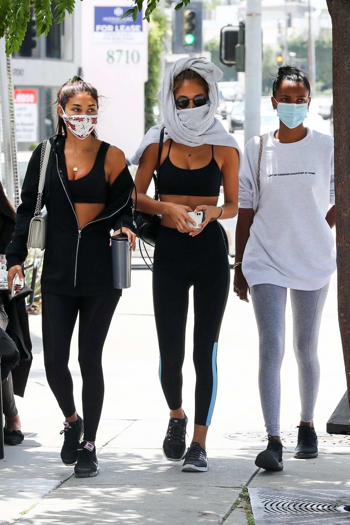 Chantel Jeffries, Jasmine Tookes and Jocelyn Chew grab a bite together after hitting the gym in Los Angeles