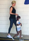 Charlize Theron takes her daughter along to a gym session in Beverly Hills, California
