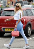 Christine McGuinness shows off her amazing figure in her 'My Vibe' gym wear while shopping at Mark and Spencers in Cheshire, UK