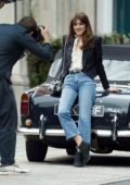 Daisy Edgar-Jones poses in multiple outfits during a Jimmy Choo photoshoot in Central London, UK