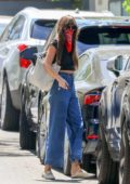 Dakota Johnson wears a crop top and high-waisted jeans while visiting a friend's house in Studio City, California