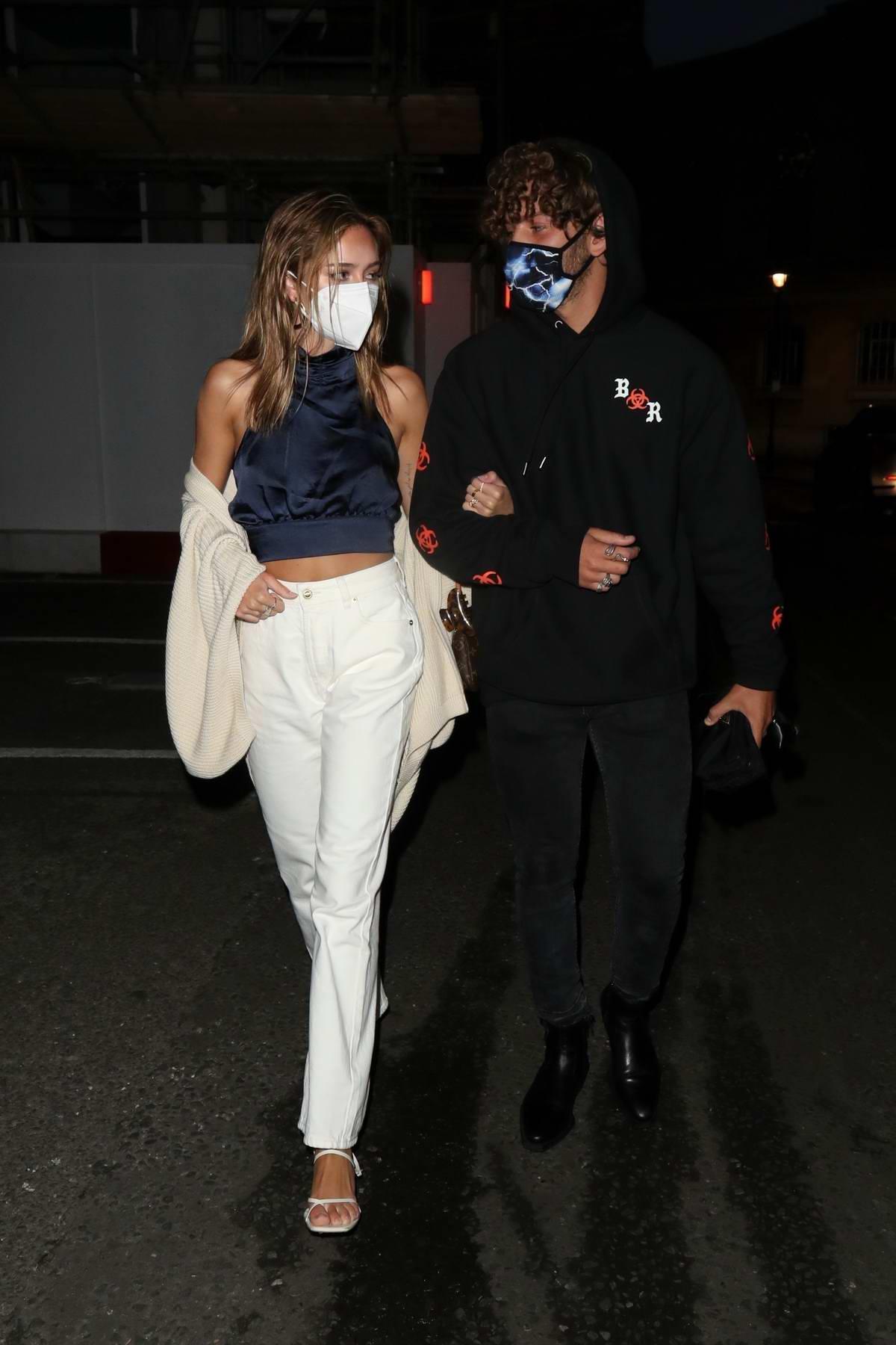 Delilah Hamlin and Eyal Booker seen leaving The Treehouse Hotel in London, UK