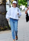 Delilah Hamlin keeps it casual while making a visit to Young LDN Skin & beauty medical spa in Notting Hill, London, UK