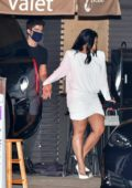 Demi Lovato is all smiles as she leaves after dinner with fiance Max Ehrich at Nobu in Malibu, California