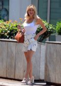 Diletta Leotta looks trendy in a white tank top and shorts while out for some shopping in Milan, Italy