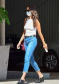 Eiza Gonzalez looks trendy in a tank top and skinny jeans while visiting a medical center in Beverly Hills, California