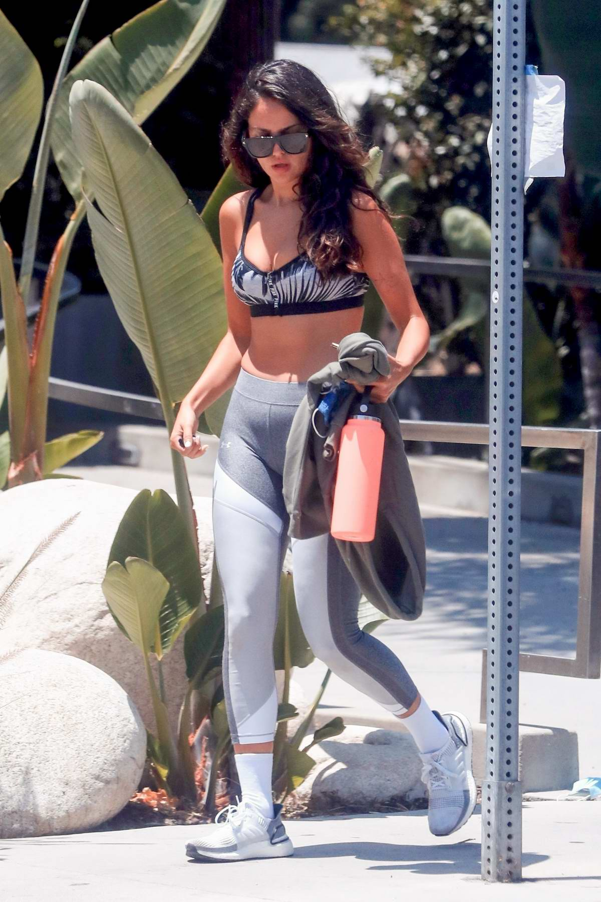 Eiza Gonzalez shows off toned figure in a sports bra and leggings after a workout session in Los Feliz, California