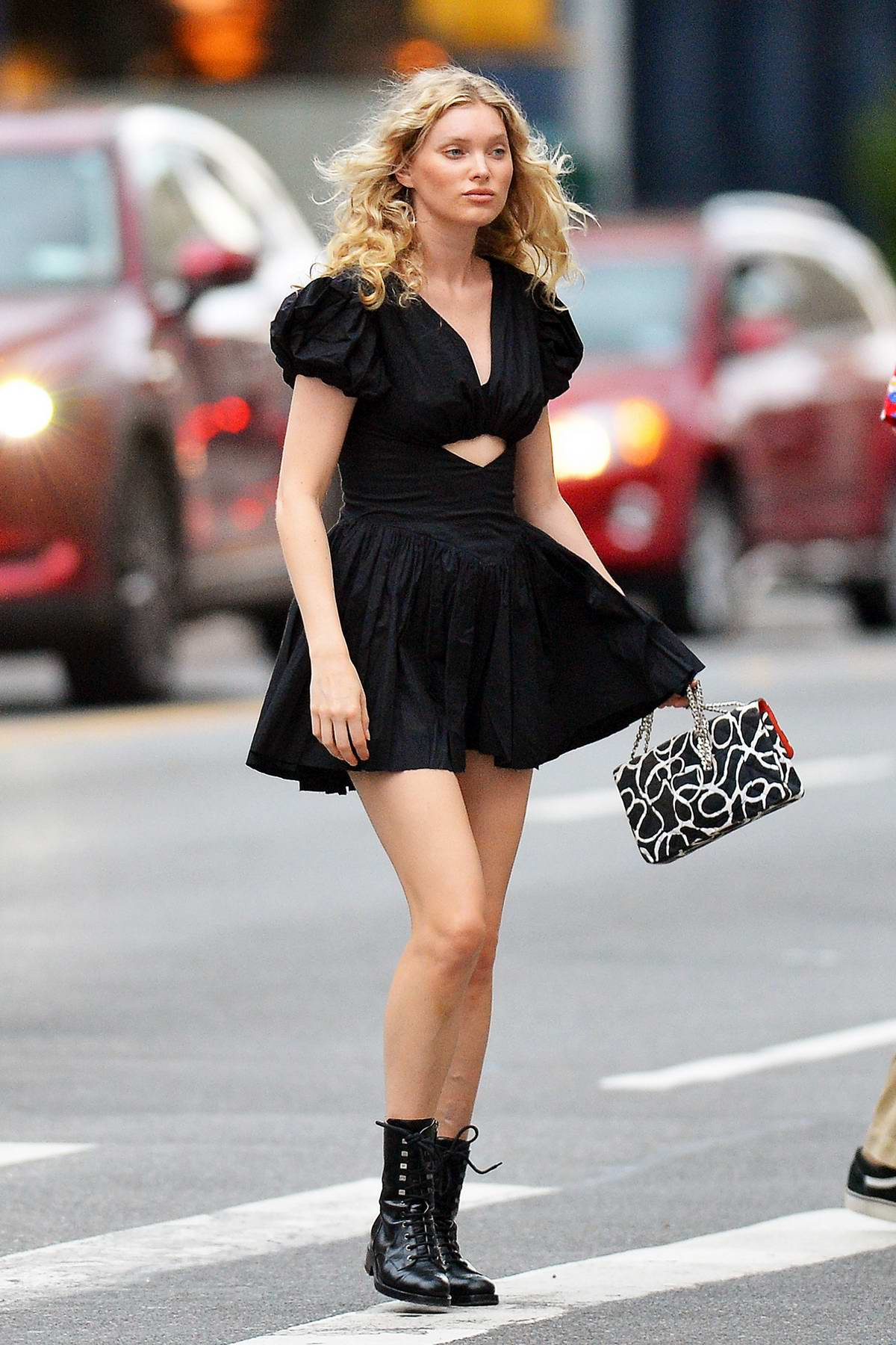 Elsa Hosk looks amazing in a black mini dress while out with Tom Daly in New York City