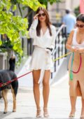 Emily Ratajkowski looks chic in all-white ensemble while out for lunch with a friend in New York City