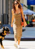 Emily Ratajkowski looks radiant in floral print dress while out for a stroll with her dog and a friend in New York City