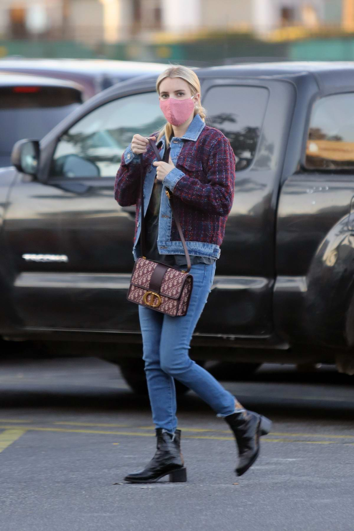 Emma Roberts wears skinny jeans with matching jacket as she steps out in Los Angeles