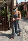 Gal Gadot steps out wearing a grey dress in Neve Tzedek, Tel Aviv, Israel