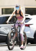 Hayley Roberts displays her toned figure while riding her bike in Calabasas, California