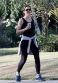 Jennifer Garner cracks a big smile while out walking in Brentwood, California