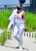 Jennifer Lopez finds some time for herself and meditates on the beach in the Hamptons, New York