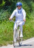 Jennifer Lopez goes for a bike ride in the Hamptons, New York
