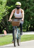 Jennifer Lopez keeps up with her fitness routine by riding bikes around the Hamptons, New York