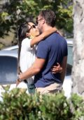 Jordana Brewster shares a kiss with her new boyfriend during coffee run in Los Angeles