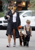 Jordana Brewster steps out for coffee with her puppy and son in Los Angeles