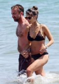 Jordana Brewster wears a brown bikini during a PDA-filled beach day with new boyfriend Mason Morfit in Santa Monica, California