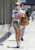 Kate Bosworth steps out in denim cut-offs as she picks up some coffee and Wagyu Beef in Los Angeles