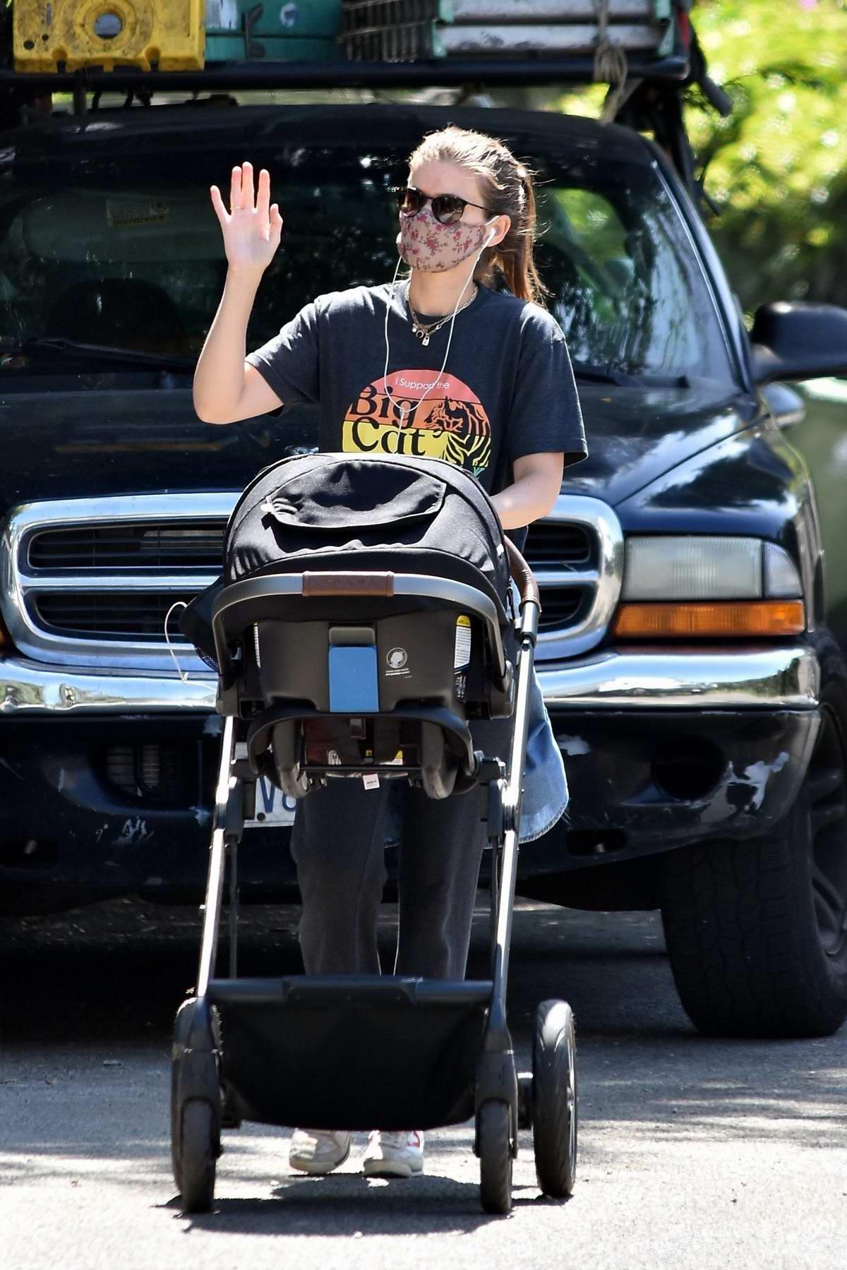 Kate Mara takes a walk with her baby around the neighborhood in Los Feliz, California