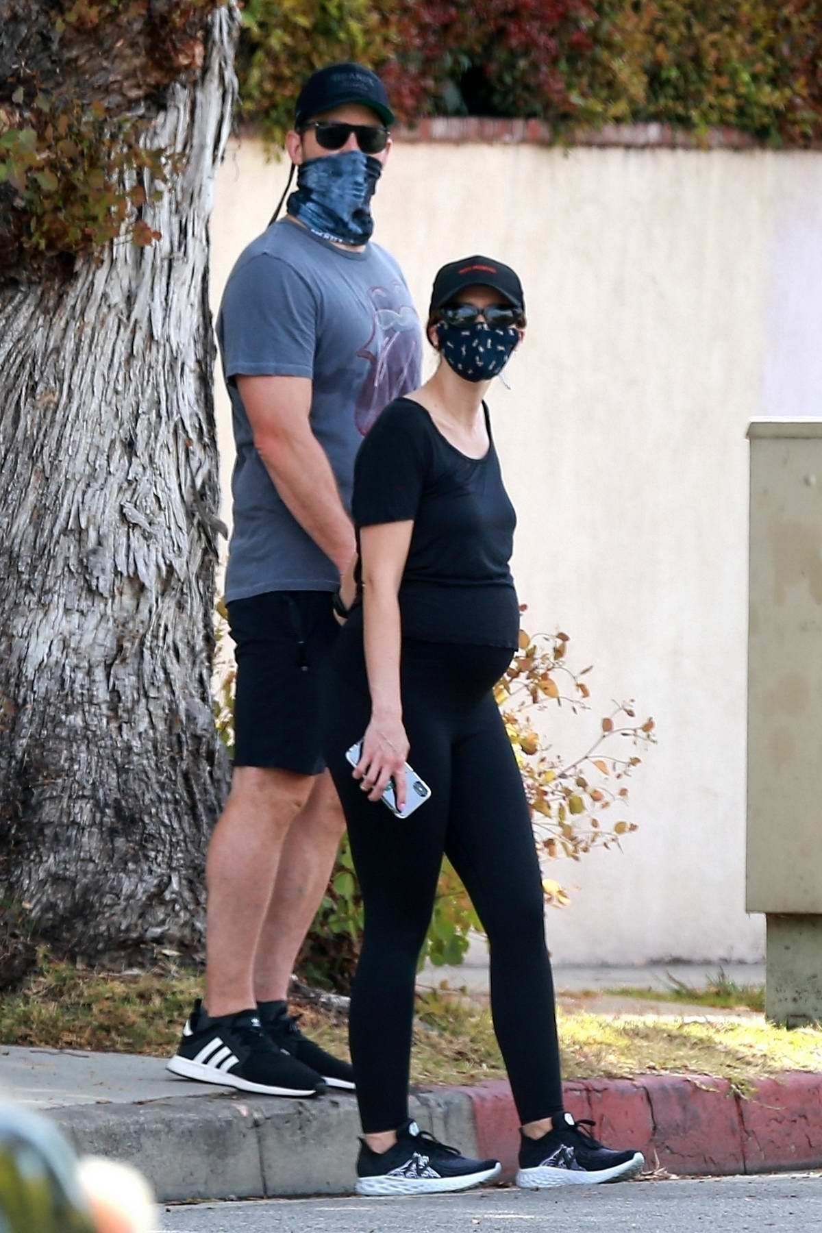 Katherine Schwarzenegger dons all-black while out for her daily walk with Chris Pratt in Santa Monica, California