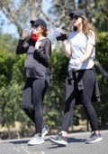Katherine Schwarzenegger enjoys a hike with her sister Christina and pick up starbucks on the way in Santa Barbara, California