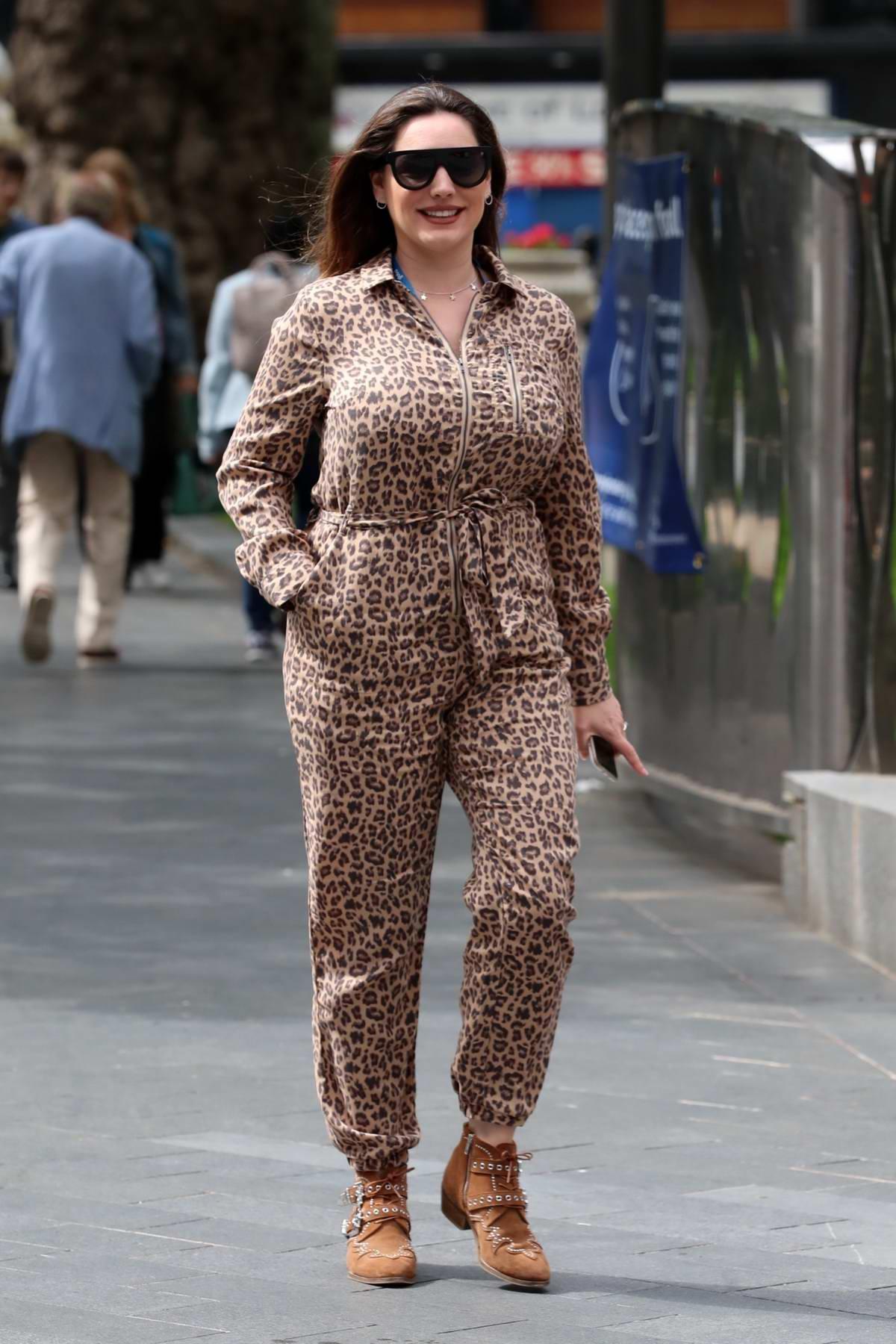 Kelly Brook arrives at Global Radio studios wearing an animal print jumpsuit in London, UK