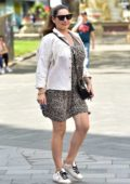 Kelly Brook dons an animal print dress as she arrives at the Global Studios in London, UK