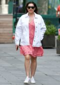 Kelly Brook is pretty in pink as she arrives at the Global Radio studios in London, UK