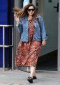 Kelly Brook looks great in a floral dress as she leaves Global Radio Studios in London, UK