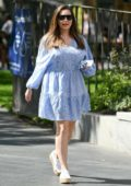 Kelly Brook looks lovely in a blue summer dress while arriving at Global studios in London, UK