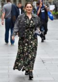 Kelly Brook looks pretty in floral print dress as she arrives at Heart radio in London, UK