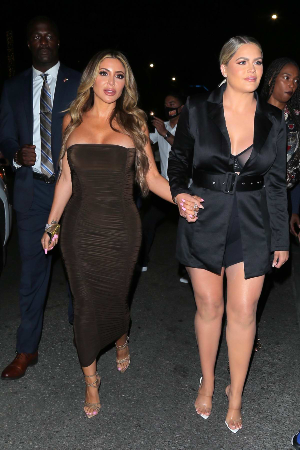 Larsa Pippen stuns in a brown dress while out for dinner with Kelsea Moscatel at Il Pastaio in Beverly Hills, California