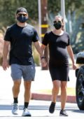 Lea Michelle steps out for a morning walk with husband Zandy Reich in Santa Monica, California