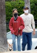 Lily Collins and boyfriend Charlie McDowell head out for a stroll with their dog in Los Angeles