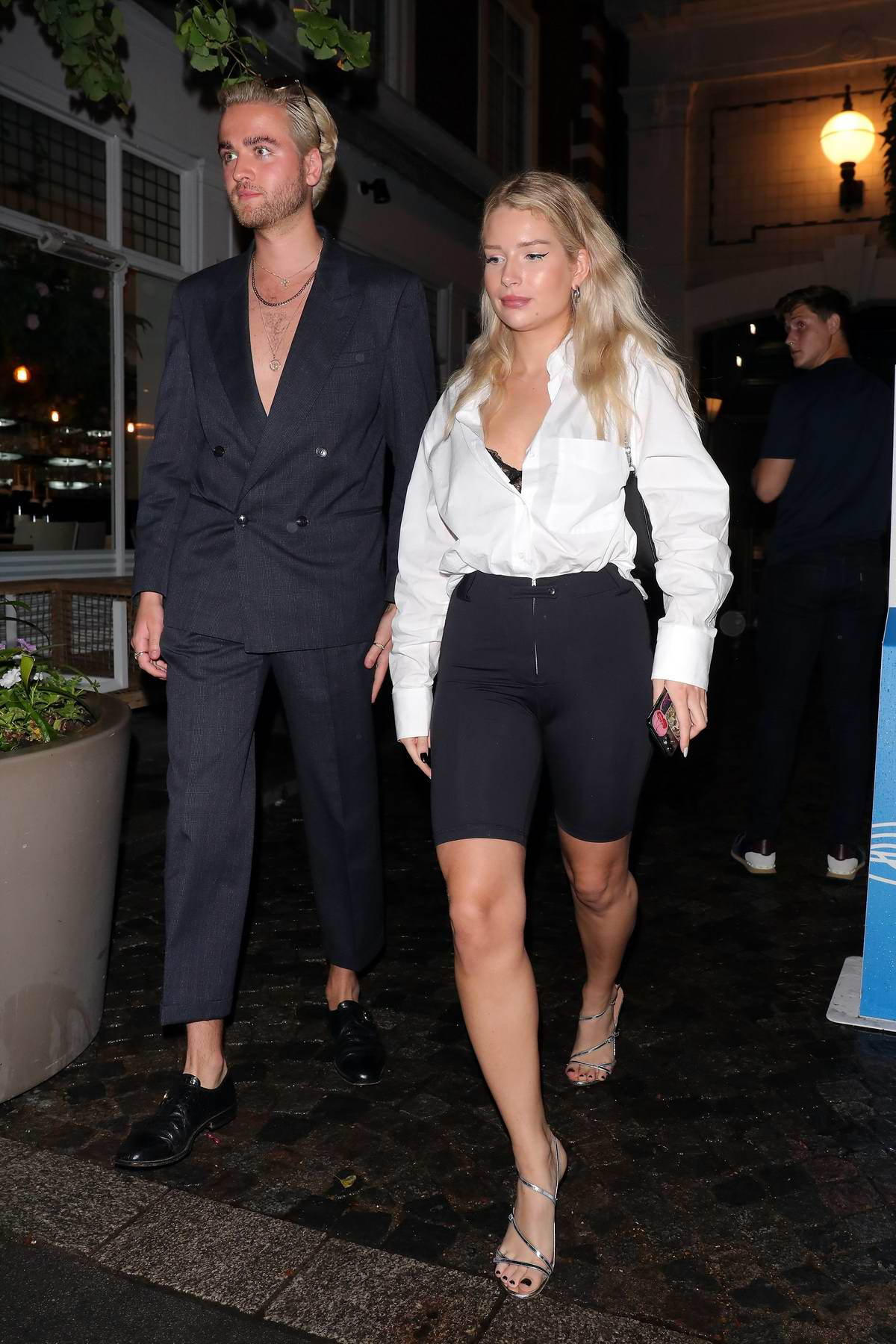 Lottie Moss looks stylish during a night out with friends at Bluebird Chelsea, London, UK