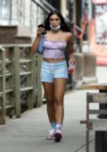 Lourdes Leon wears a crop top and short shorts for lunch outing with friends in New York City
