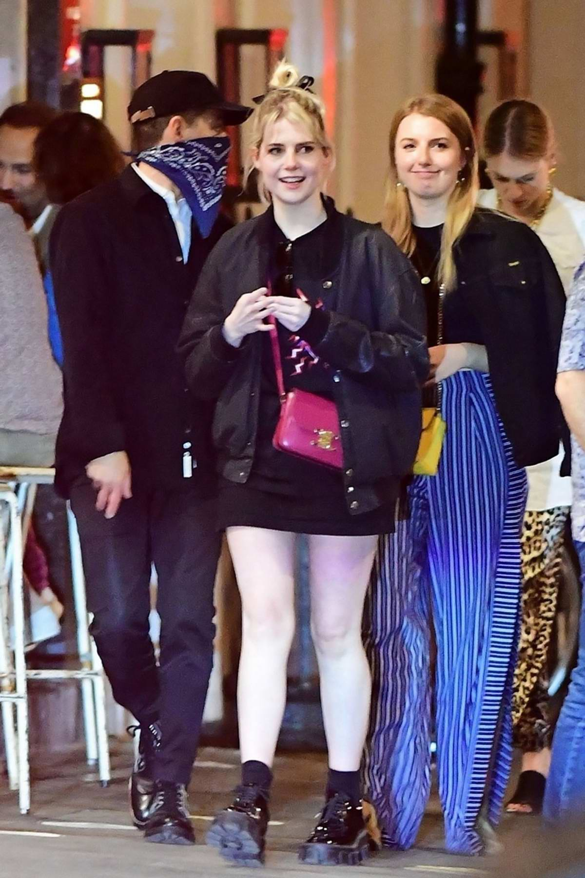 Lucy Boynton and Rami Malek step out for dinner at Vietnamese restaurant Cay Tre in Soho, London, UK